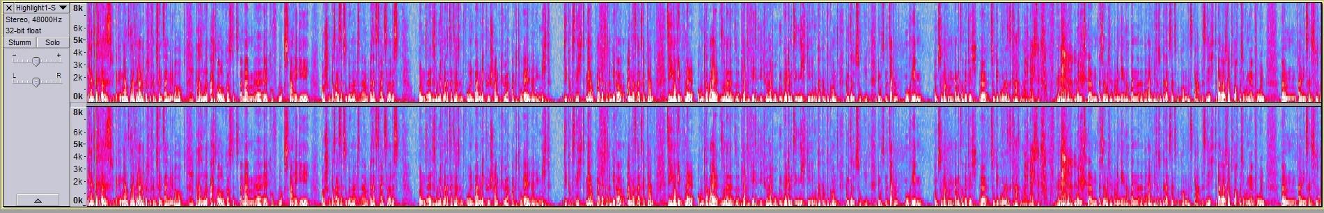 Die Audacity Spectralformen wirken schrill, geben aber die entsprechenden Soundinformationen visuell wieder.