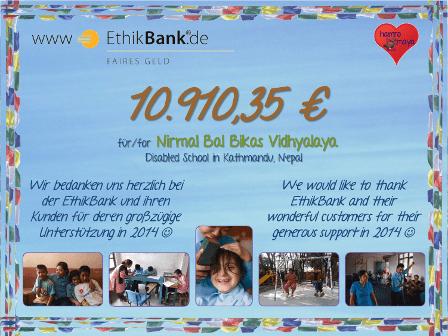 Förderspende der EthikBank für unsere Behindertenschule in Nepal