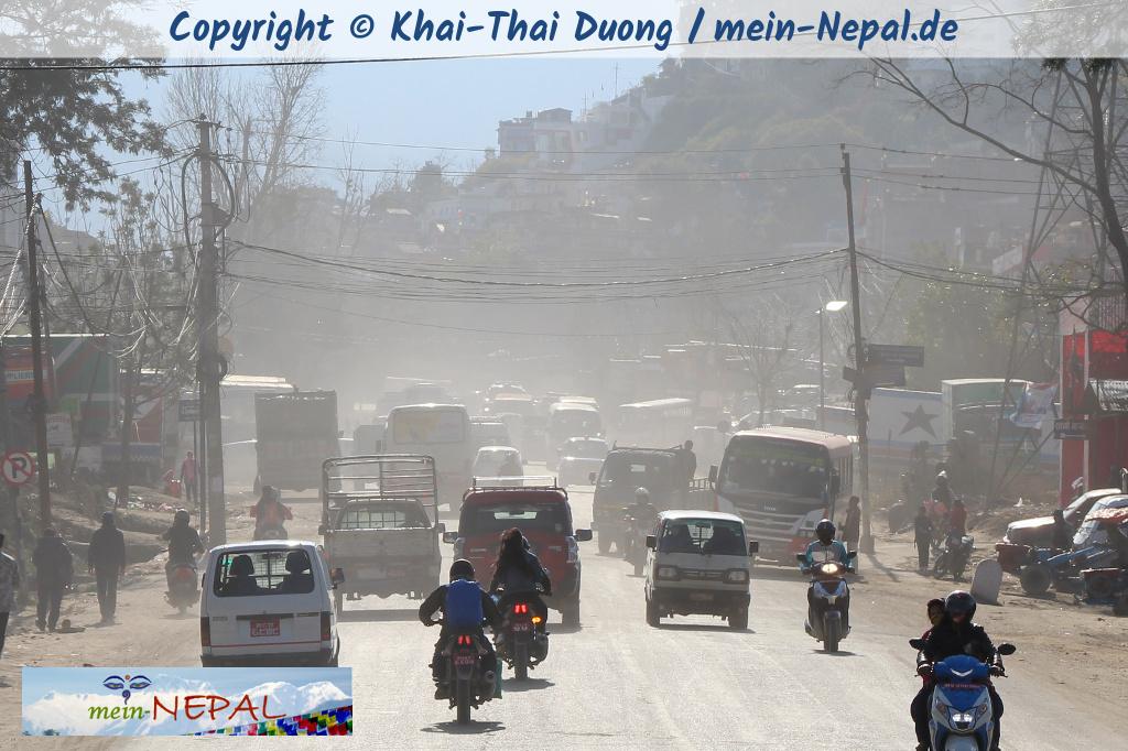 Luftverschmutzung in Kathmandu während der Trockenzeit.