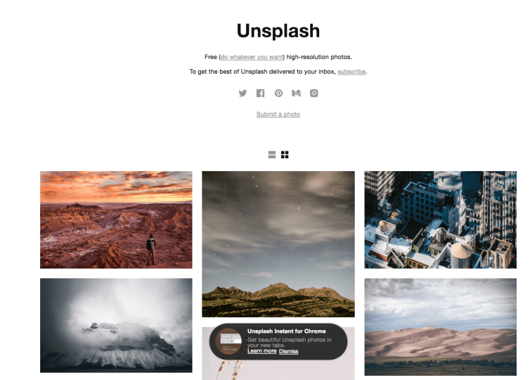 Unsplash, one of the most popular free photo website