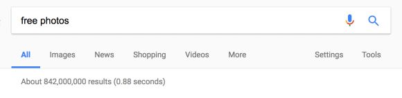 """Almost a billion results for """"free photos"""""""