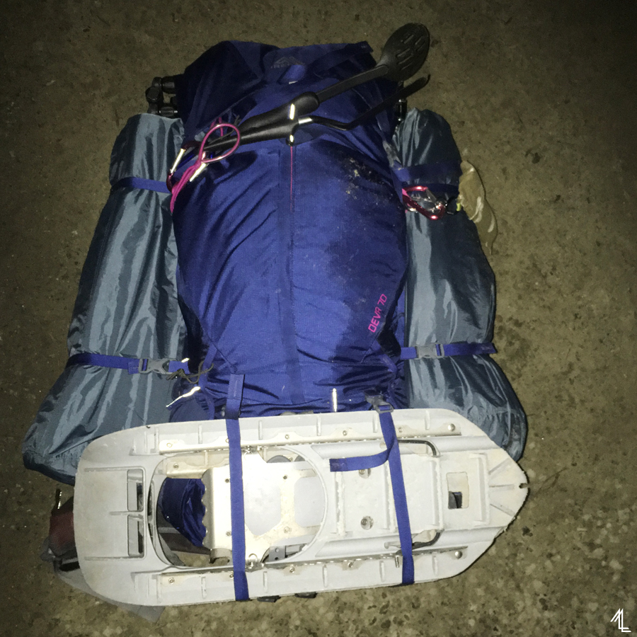My Gregory Deva 70 fully loaded for a 4-day winter trip