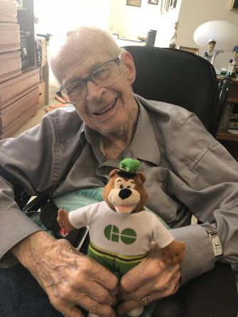 Norm Kuster at his retirement home with GO Bear 2018