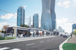 An artist's rendering shows an LRT arriving at a stop along Hurontario St.