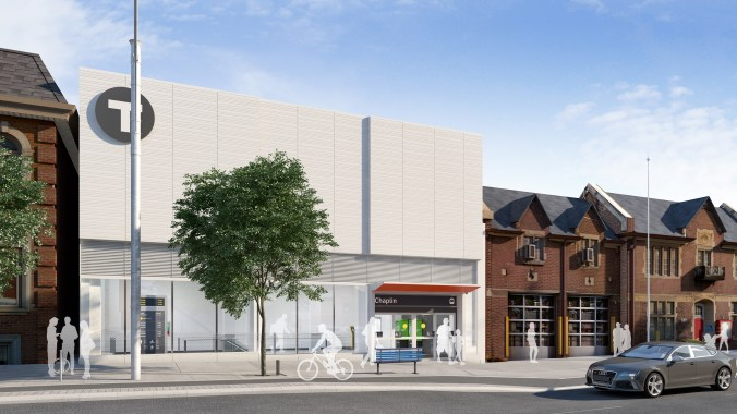 In an artist rendering, an old fire station is connected to the left of the new LRT station.
