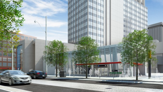 An artist rendering shows cars and pedestrians outside Eglinton Station.