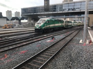 A GO train runs along the Union Station Corridor. The area sees a great deal of activity - and litter, brought in by the wind.