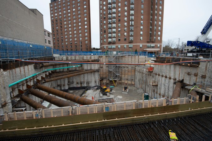 Photo of construction site for the new Fairbank Station, including a new watermain pipe that is replacing a 103-year-old pipe.