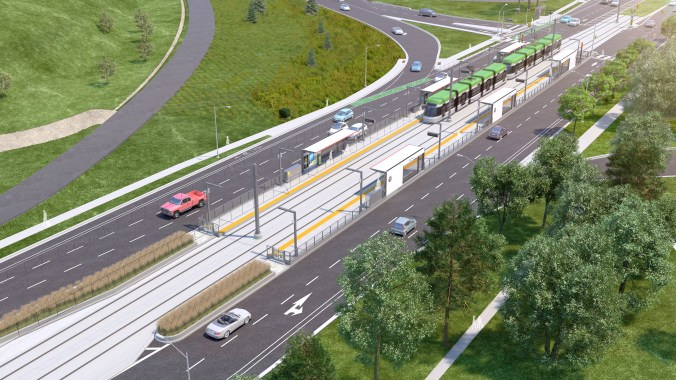An artist concept shows a ground-level stop, with a light rail vehicle pulling in.