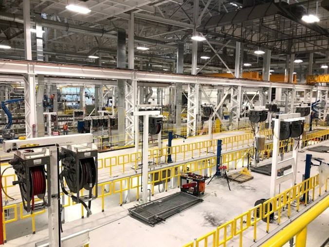 A photo showing the inside of GO Transit's Whitby Rail Maintenance Facility.