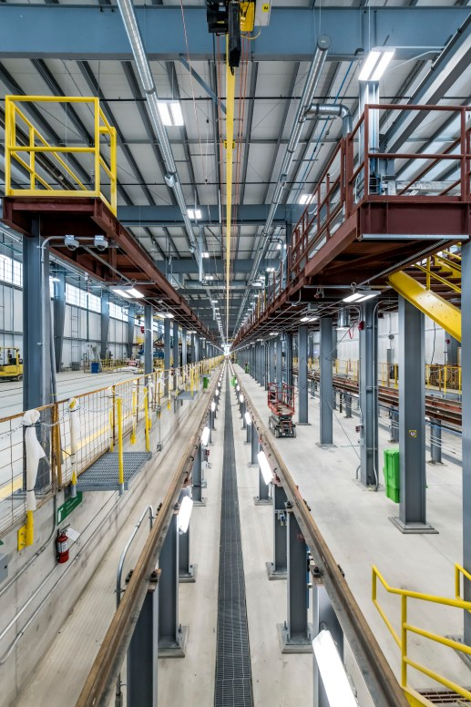 Photo showing the length of the repair bays inside the Crosstown maintenance facility.
