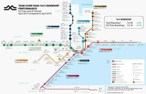 Show a map with breakdowns of ridership numbers.