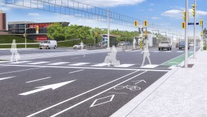 Street view of a rendering of Eglinton and Leslie street intersection with the Eglinton Crosstown LRT completed.