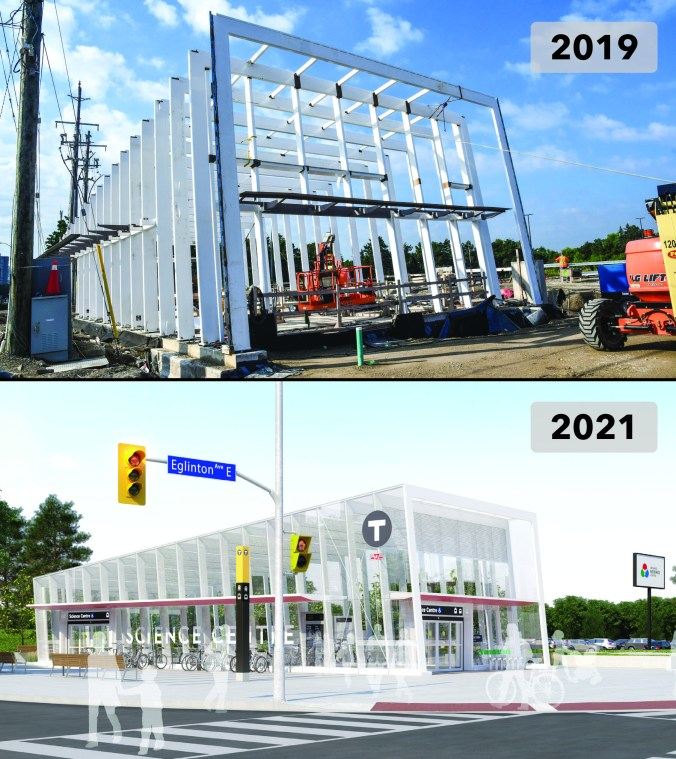 A first image shows white steel framing going up over a concrete bed. The second shows a rendering of the Science Centre Station, where you can see the same white supports in the finished building.