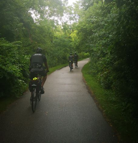 Three members of the team ride through a wooded area.