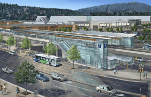 A rendering shows an elevated guideway used in Vancouver.