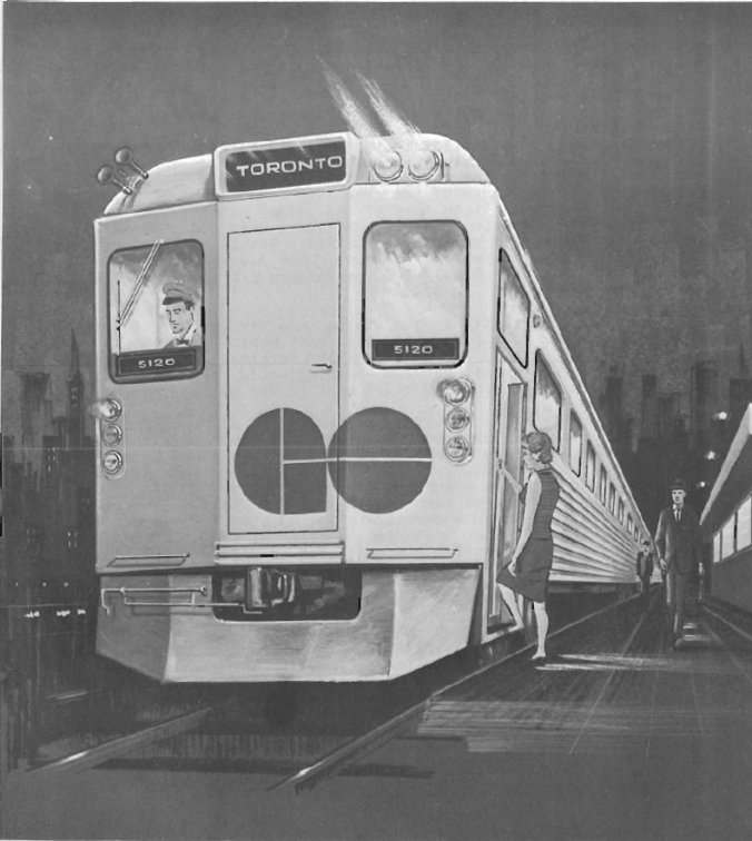 Rendering shows an old GO train at a platform.