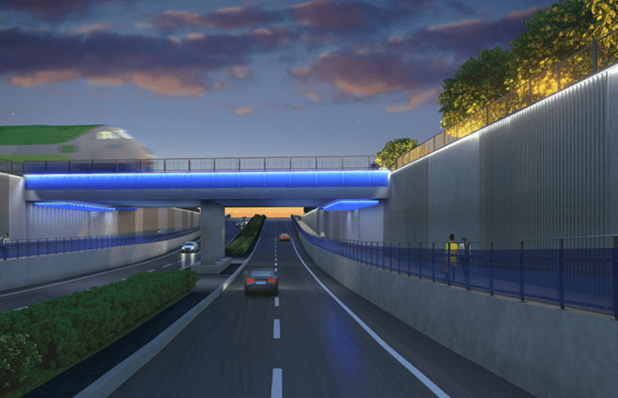 A rendering of the completed Rutherford Road grade separation from Westburne Drive to Peter Rupert Avenue.