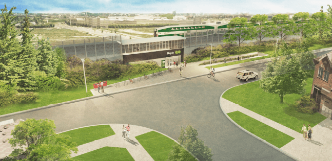 A rendering shows the station from the front.