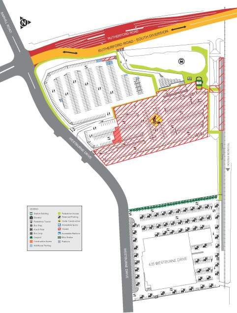 Rutherford GO station construction map