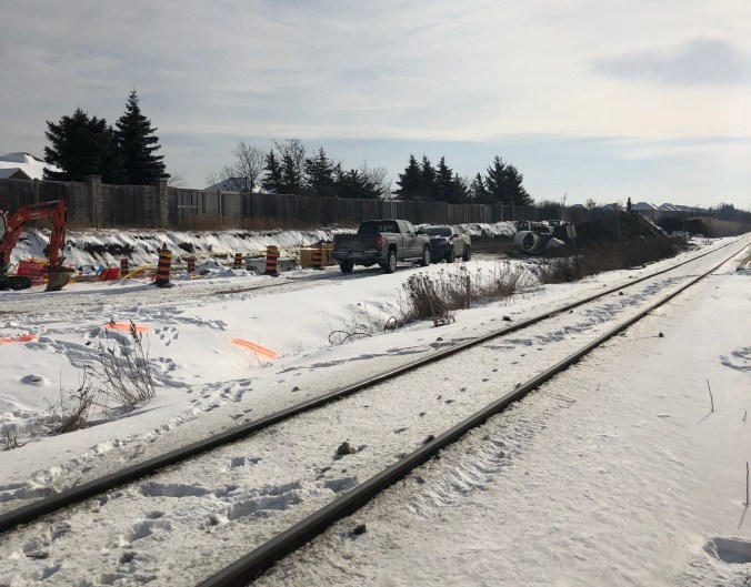 The start of construction of a second track and platform at Rutherford GO