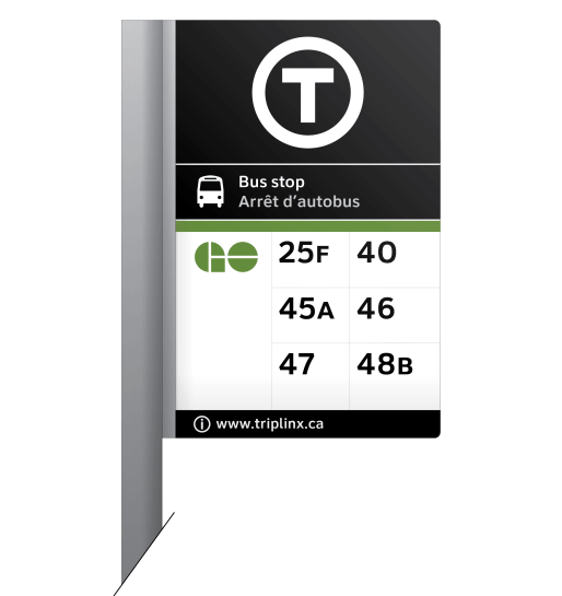 "An example of a GO bus stop with the new ""T"" transit symbol"