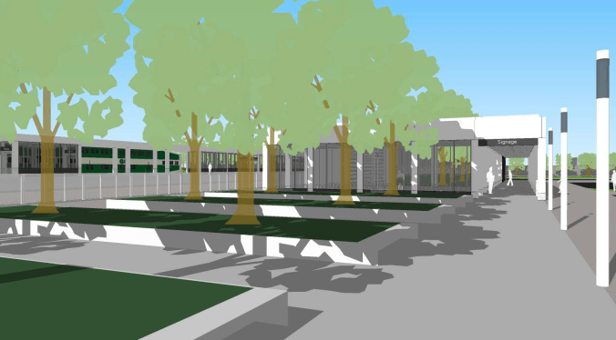 Rendering shows trees in front of a station,