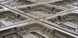 A diamond is the intersection of two railway tracks which resembles a diamond shape