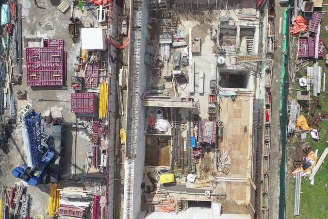 Image shows the construction site, from above.