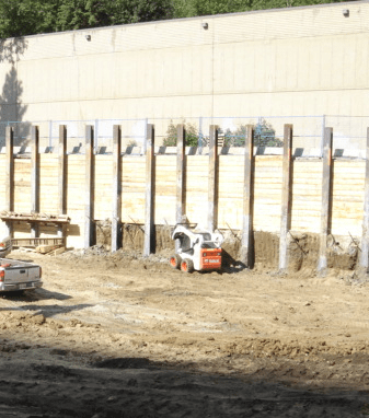 Photo of a typical shoring wall. Shoring wall construction will take place in June.