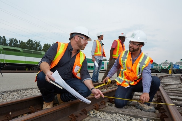 Image shows Andy by the rails.