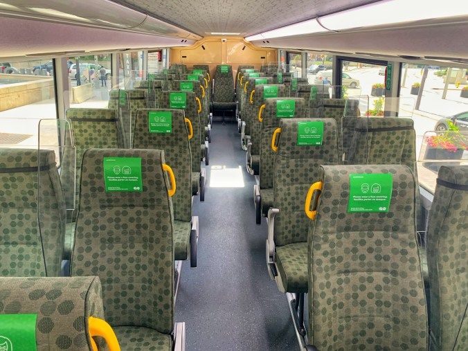 Image shows the inside of a GO bus, with the new safety systems installed. (Metrolinx photo)