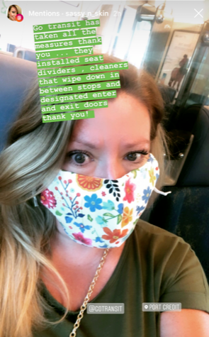 screen capture of instagram post from customer wearing a mask on transit