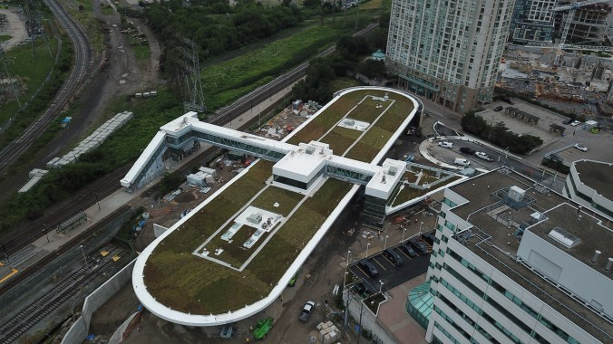 Aerial photo from a drone showing the green roof of the bus terminal