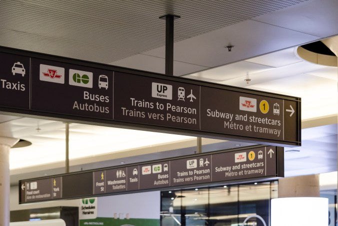 Photo of the signage inside York Concourse showing directions to UP Express, GO Bus, TTC and other connections