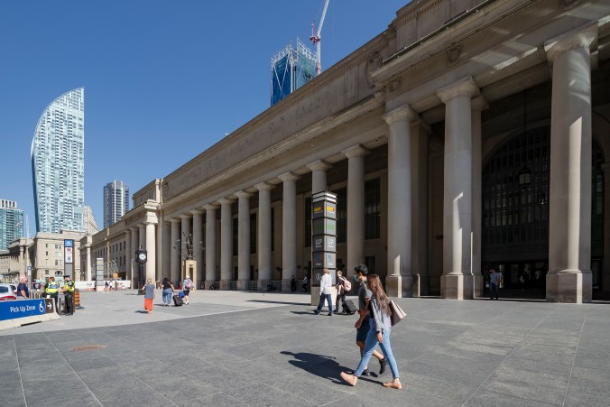 Photo of the exterior of Toronto's Union Station from Front Street, one that most visitors and residents instantly recognize