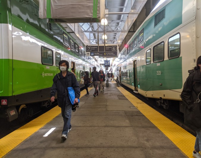 Travellers leave GO trains at Union Station.