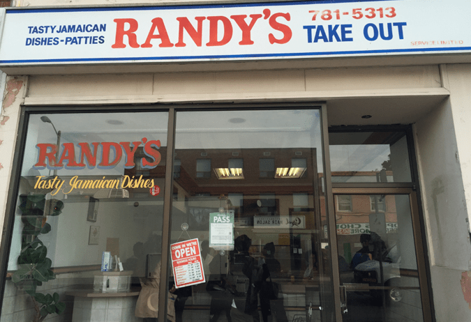 Image shows the front of Randy's take-out