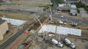 Aerial shot of construction work at Steeles Avenue near Miliken GO Station.