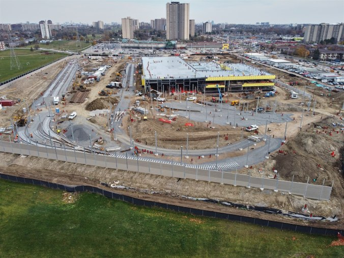 Image shows the large construction site.