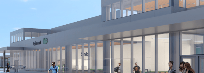 Image shows a rendering of a new GO station.