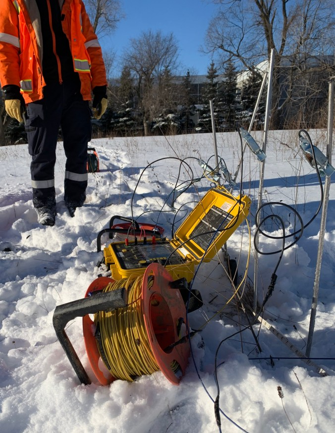 Image shows a device sitting in snow.