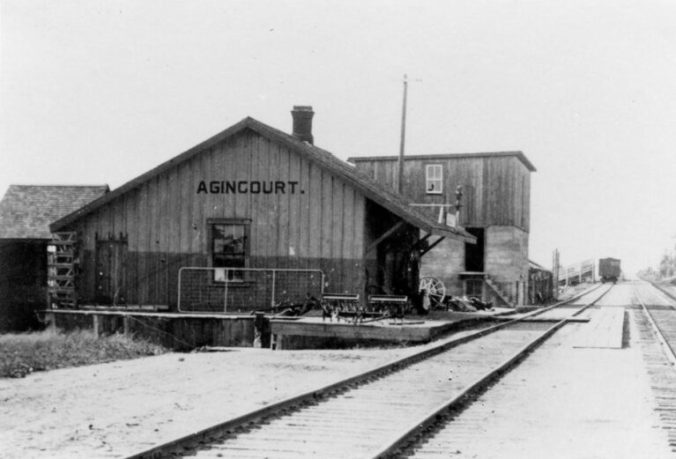 Historical photo of an old wooden train station at Agincourt