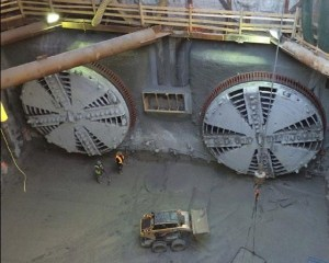 Image shows boring machines in a pit.
