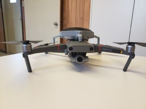 Image shows the drone on table.