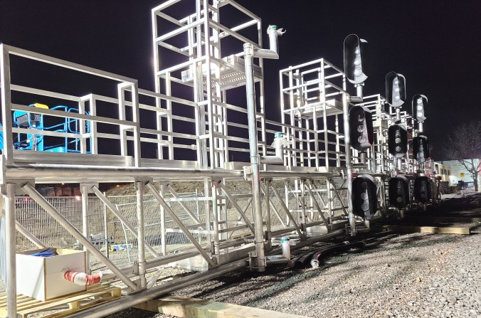 The new custom-built signal bridge waiting to be installed above the Lakeshore West tracks