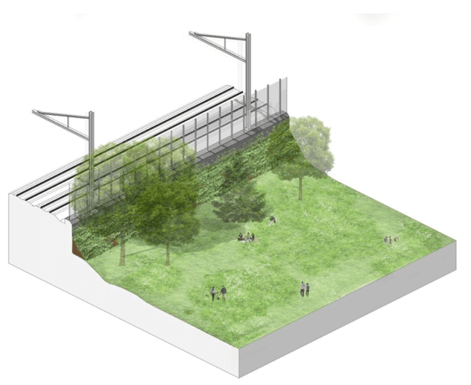 Image shows a sketch of a park with a noise wall.