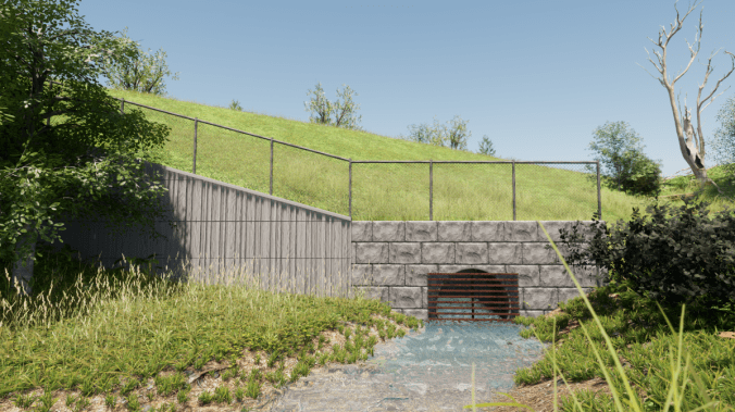 An artist's rendering of the new culvert and retaining wall. All renderings subject to change.