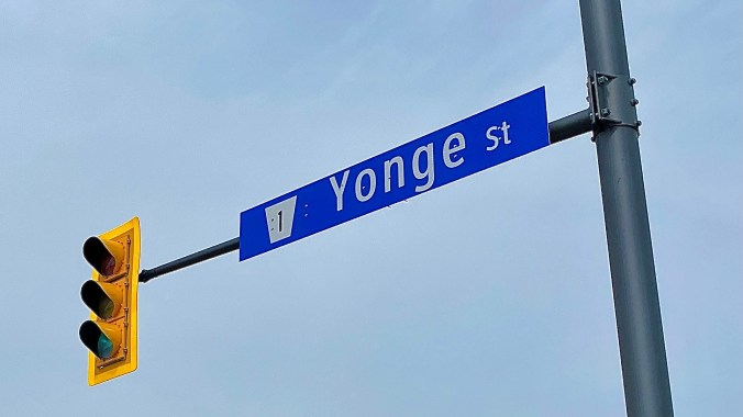 The Yonge St. street sign is shown.