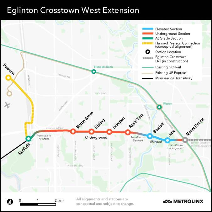 Image shows the Eglinton Crosstown West Extension map.